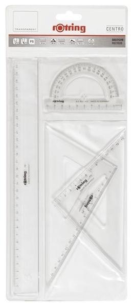 Geometrie Set glasklar mit Lineal Zeichendreiecken & Winkelmesser