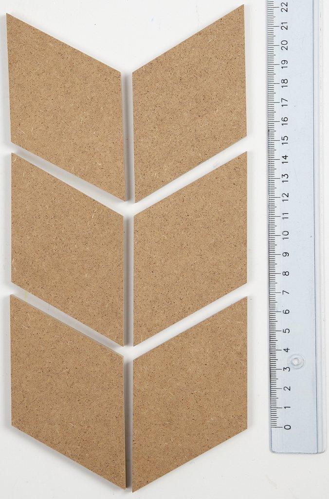 diy wanddekoration wand deko sets mdf 6 diamant 6 5 29 5 cm. Black Bedroom Furniture Sets. Home Design Ideas