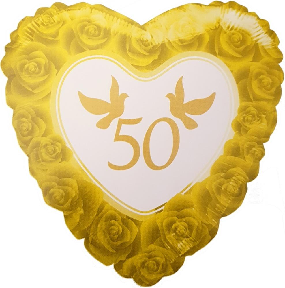 Folien Helium Ballon 50 Jahre Goldene Hochzeit 46cm