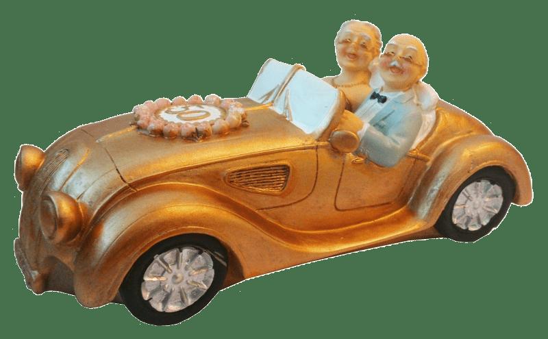 spardose gelddose hochzeitspaar im auto 50 jahre goldene. Black Bedroom Furniture Sets. Home Design Ideas
