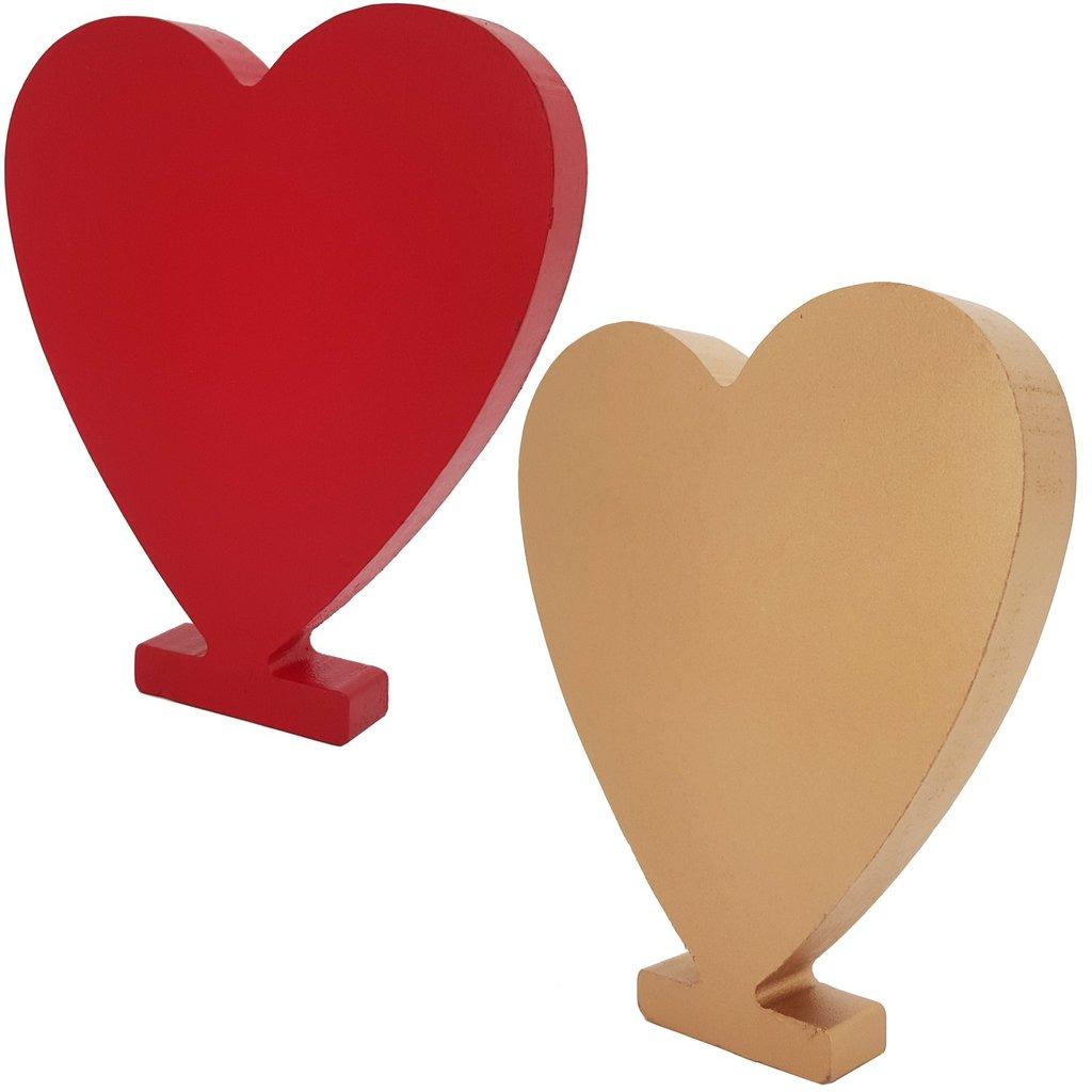 holzherz deko herz aus holz stehend 15x13 5x1 9 cm rot gold. Black Bedroom Furniture Sets. Home Design Ideas