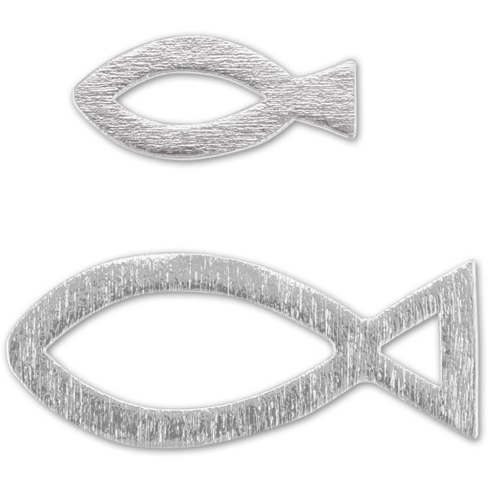 Deko Christenfische Fische 24 Holz Streuteile Silber Gold