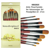 9er Katzenzungen Set Artist Pinsel Syntetic 22-27 cm