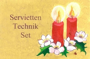 Serviettentechnik Weihnacht Set - Servietten Kleber Pinsel