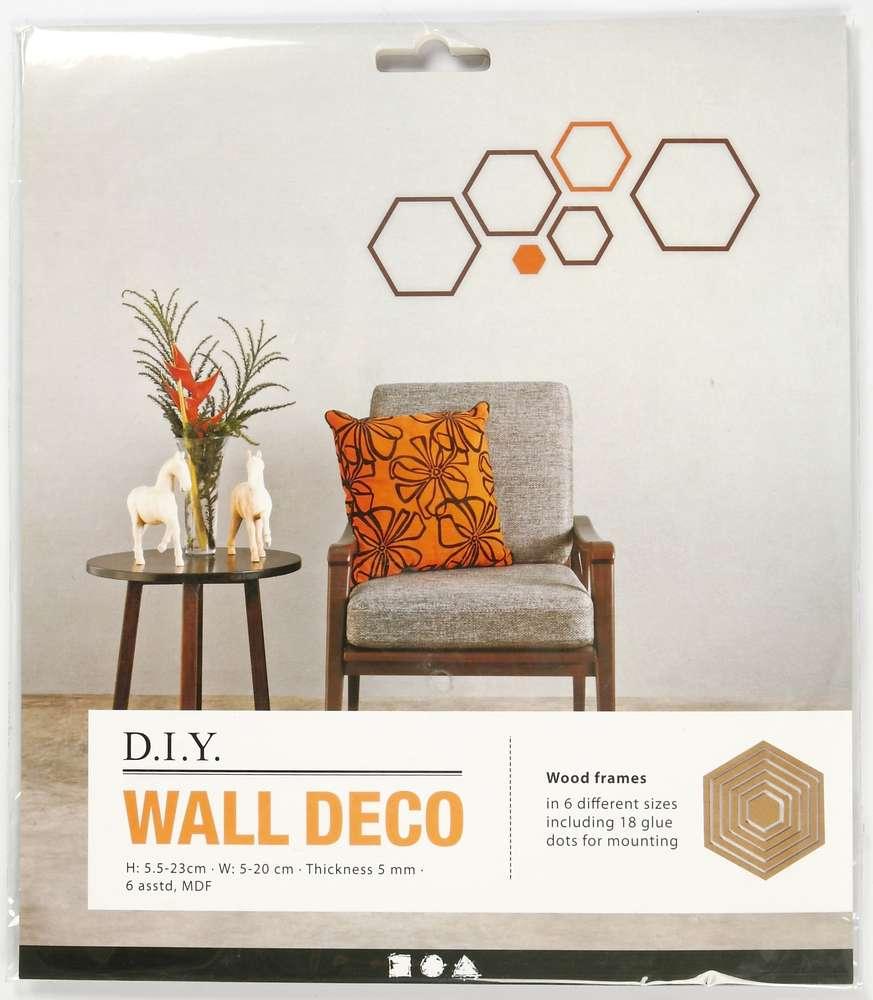 DIY Wanddekoration Wand Deko Sets MDF 6 Hexagon