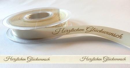 10m Band Dekoband Herzlichen Glückwunsch 15mm Cremegold
