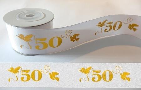 10m Schleifenband Geschenkband 50 4cm Weißgold