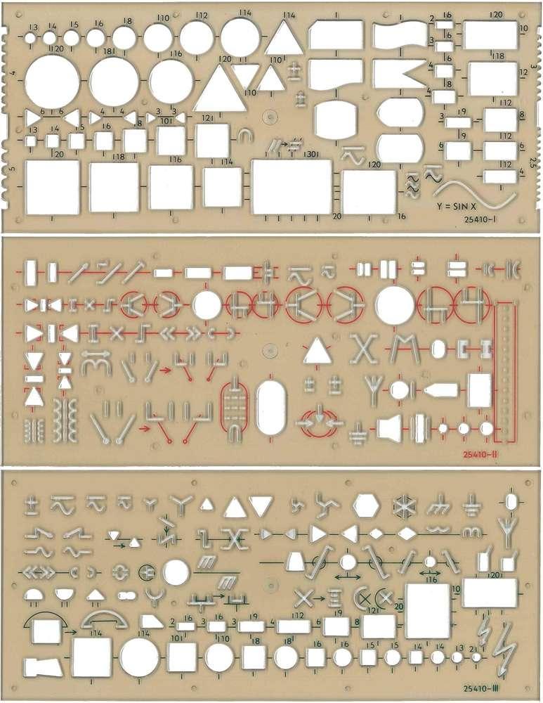 Elektroschablone für alle wichtigen Symbole Zeichen Schalter