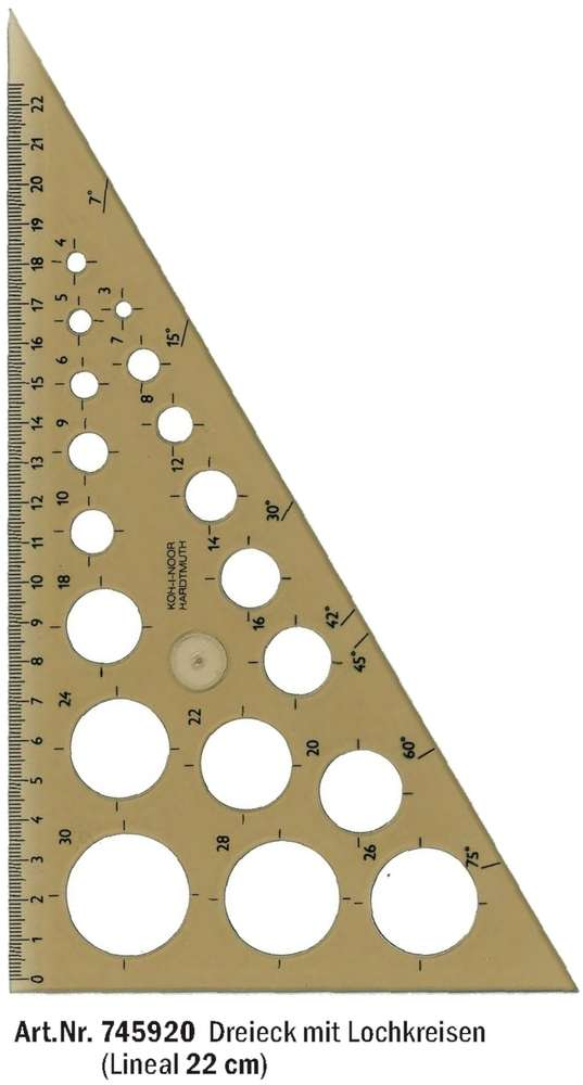 rechtwinkliges Dreieck mit Lochkreisen Kreisschablone Schablone